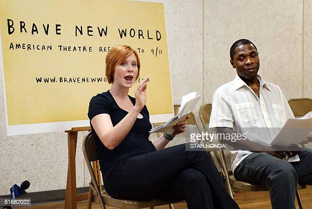"""Actors Cynthia Nixon and Michael Potts rehearse a play from """"Brave New World, American Theatre Responds to September 11th"""" on 01 August at Chelsea..."""