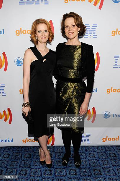 Actors Cynthia Nixon and Sigourney Weaver attend the 21st Annual GLAAD Media Awards at The New York Marriott Marquis on March 13, 2010 in New York,...