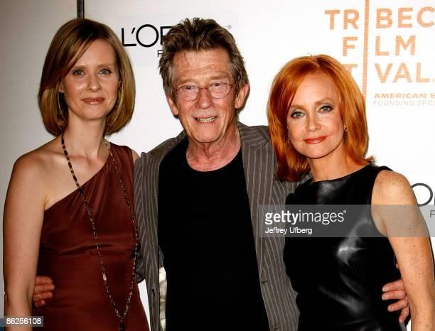 "Actors Cynthia Nixon, John Hurt and Swoosie Kurtz attend the 8th Annual Tribeca Film Festival ""An Englishman In New York"" premiere at BMCC Tribeca..."