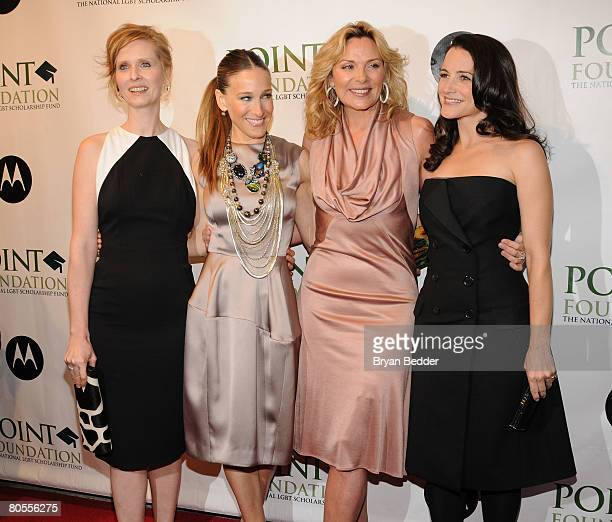 Actors Cynthia Nixon Sarah Jessica Parker Kim Cattrall and Kristin Davis arrive at the Point Foundation hosts Point Honors The Arts at Capitale on...