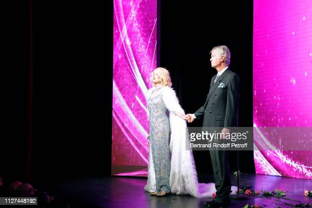 Actors Cyrielle Clair and Gerard Chambre acknowledge the applause of the audience at the end of the Marlene is Back Show at Theatre de la Tour Eiffel...