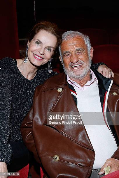 Actors Cyrielle Clair and JeanPaul Belmondo attend LouisMichel Colla the Director of the Theatre de la Gaite Montparnasse Celebrates his 60th...
