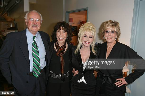 Actors Dabney Coleman Lily Tomlin Dolly Parton and Jane Fonda pose backstage after the world premiere of of 9 to 5 The Musical at Center Theatre...