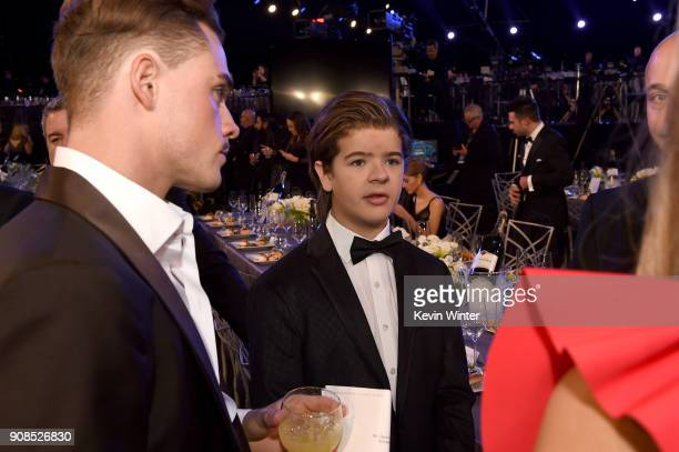 Actors Dacre Montgomery and Gaten Matarazzo attend the 24th Annual Screen Actors Guild Awards at The Shrine Auditorium on January 21 2018 in Los...