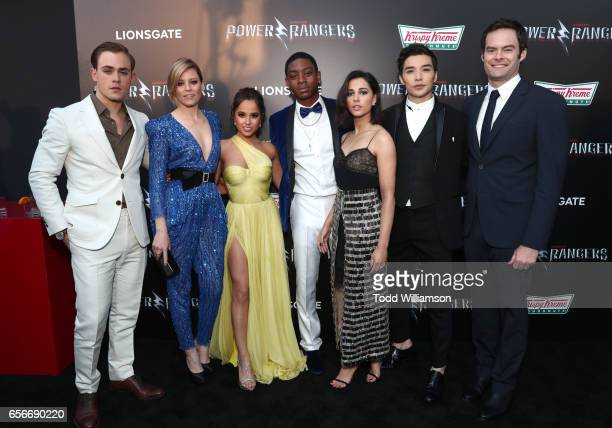 Actors Dacre Montgomery Elizabeth Banks Becky G RJ Cyler Naomi Scott Ludi Lin and Bill Hader at The LA Premiere of Saban's Power Rangers presented by...