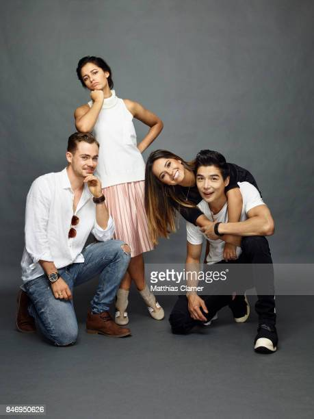Actors Dacre Montgomery Naomi Scott Becky G and Ludi Lin from 'Power Rangers' are photographed for Entertainment Weekly Magazine on July 22 2016 at...