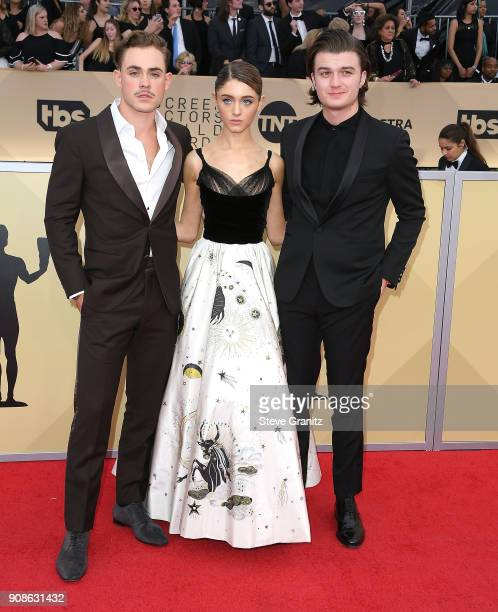 Actors Dacre Montgomery Natalia Dyer and Joe Keery arrives at the 24th Annual Screen ActorsGuild Awards at The Shrine Auditorium on January 21 2018...