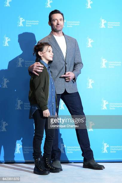 Actors Dafne Keen and Hugh Jackman attend the 'Logan' photo call during the 67th Berlinale International Film Festival Berlin at Grand Hyatt Hotel on...