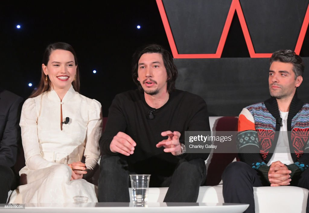 Actors Daisy Ridley, Adam Driver and Oscar Isaac attend the press conference for the highly anticipated Star Wars: The Last Jedi at InterContinental Los Angeles on December 3, 2017 in Los Angeles, California.