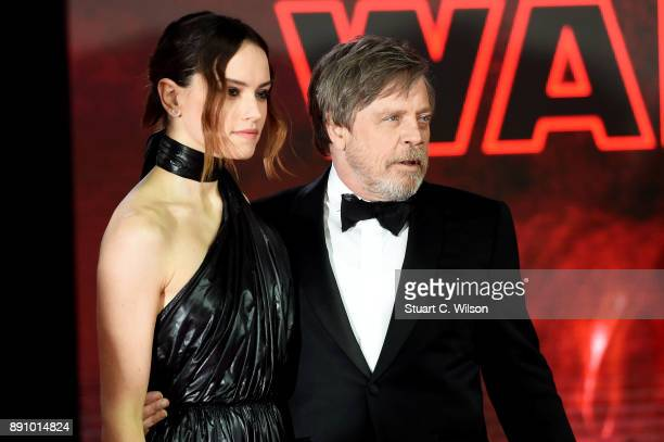Actors Daisy Ridley and Mark Hamill attend the European Premiere of 'Star Wars The Last Jedi' at Royal Albert Hall on December 12 2017 in London...