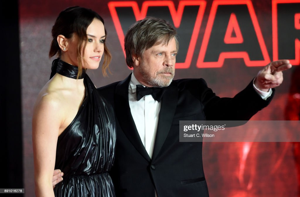 Actors Daisy Ridley and Mark Hamill attend the European Premiere of 'Star Wars: The Last Jedi' at Royal Albert Hall on December 12, 2017 in London, England.