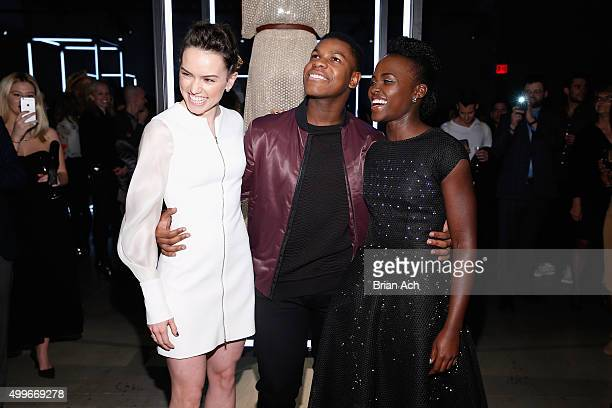 Actors Daisy Ridley Lupita Nyong'o and John Boyega attend the Star Wars 'Force 4 Fashion' Event on Dec 2 at the Skylight Modern in NYC Top designers...