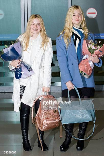 Actors Dakota and Elle Fanning is seen upon arrival at Incheon International Airport on January 5 2013 in Incheon South Korea