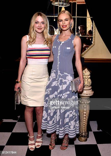 Actors Dakota Fanning and Kate Bosworth attend the I Love Coco Backstage Beauty Lounge at Chateau Marmont's Bar Marmont on February 25, 2016 in...