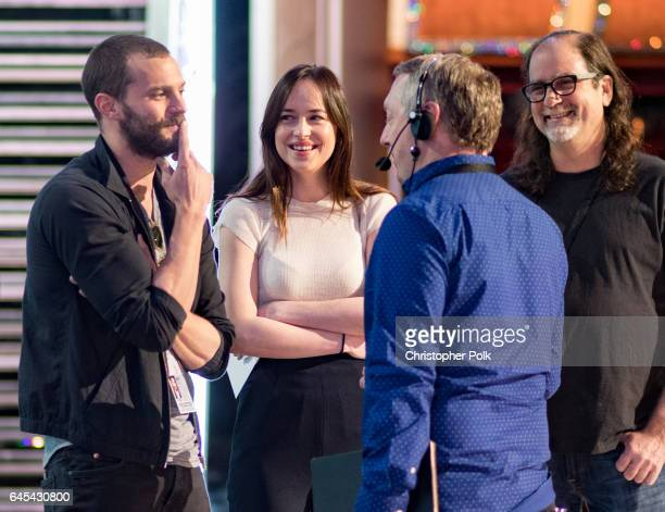 Actors Dakota Johnson and Jamie Dornan on stage during rehersals for the 89th Annual Academy Awards at Hollywood Highland Center on February 25 2017...