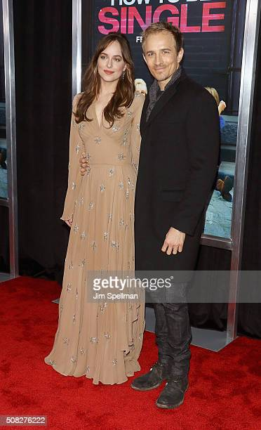 Actors Dakota Johnson and Jesse Johnson attend the How To Be Single New York premiere at NYU Skirball Center on February 3 2016 in New York City