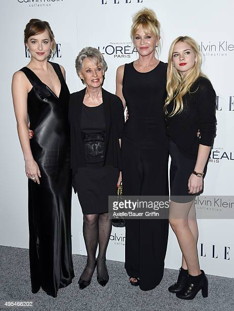 Actors Dakota Johnson Tippi Hedren Melanie Griffith and Stella Banderas arrive at the 22nd Annual ELLE Women In Hollywood Awards at Four Seasons...