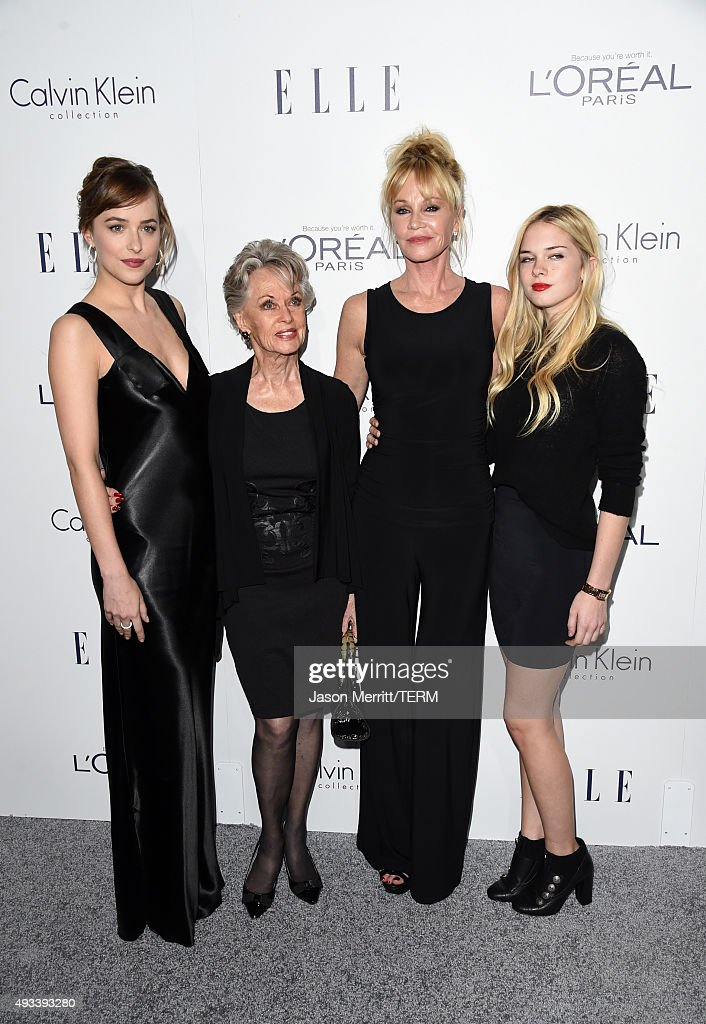Actors Dakota Johnson, Tippi Hedren, Melanie Griffith and Stella Banderas attend the 22nd Annual ELLE Women in Hollywood Awards at Four Seasons Hotel Los Angeles at Beverly Hills on October 19, 2015 in Los Angeles, California.