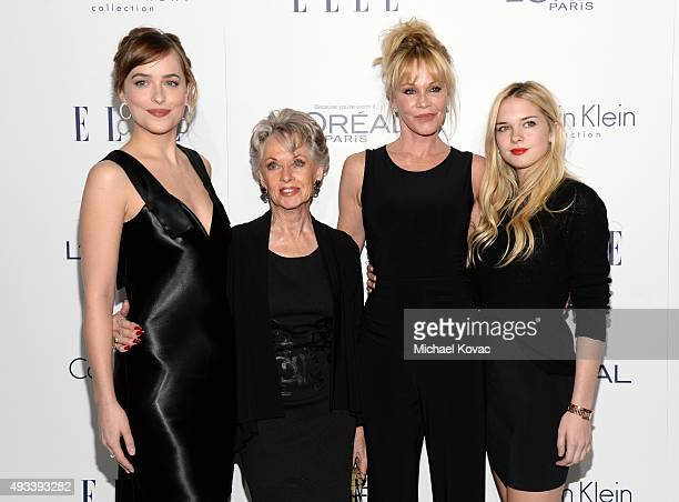 Actors Dakota Johnson, Tippi Hedren, Melanie Griffith and Stella Banderas attend the 22nd Annual ELLE Women in Hollywood Awards at Four Seasons Hotel...