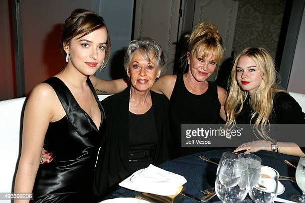 Actors Dakota Johnson Tippi Hedren Melanie Griffith and Stella Banderas attend the 22nd Annual ELLE Women in Hollywood Awards presented by Calvin...