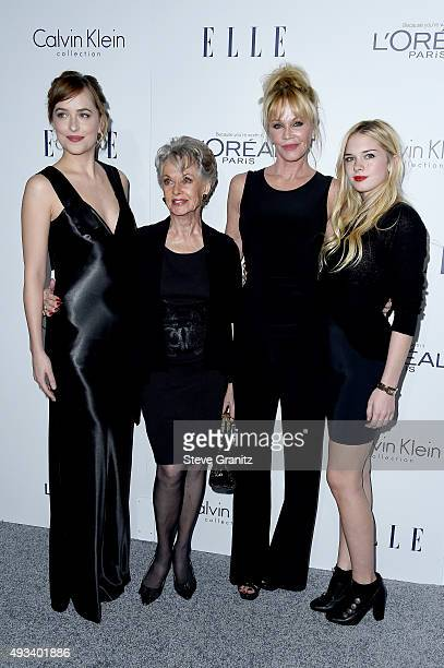 Actors Dakota Johnson Tippi Hedren Melanie Griffith and Stella Banderas attend the 22nd Annual ELLE Women in Hollywood Awards at Four Seasons Hotel...