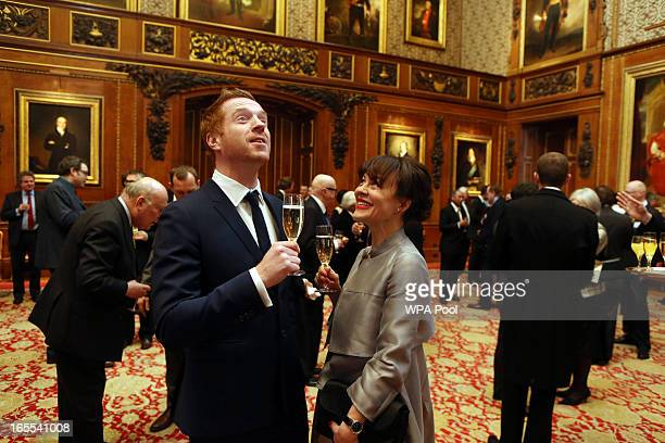 Actors Damian Lewis and Helen McCrory attend at a reception for the British Film Industry at Windsor Castle on April 4, 2013 in Berkshire, England.