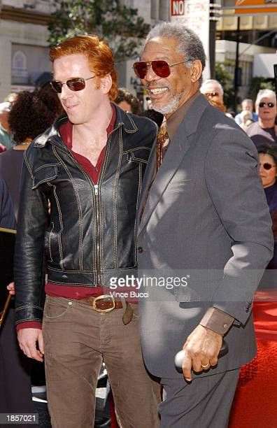 Actors Damian Lewis and Morgan Freeman attend a ceremony honoring Freeman with a star on the Hollywood Walk of Fame on March 18 2003 in Hollywood...