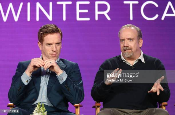 Actors Damian Lewis and Paul Giamatti of the television show BILLIONS speak onstage during the CBS/Showtime portion of the 2018 Winter Television...