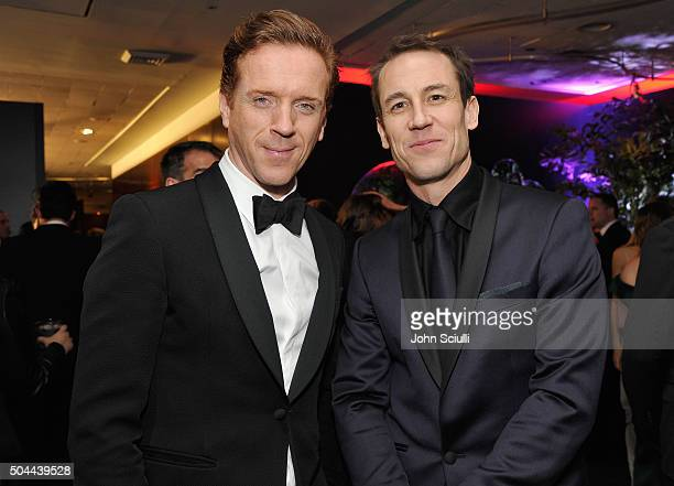 Actors Damian Lewis and Tobias Menzies attend The 2016 InStyle and Warner Bros 73rd annual Golden Globe Awards PostParty at The Beverly Hilton Hotel...