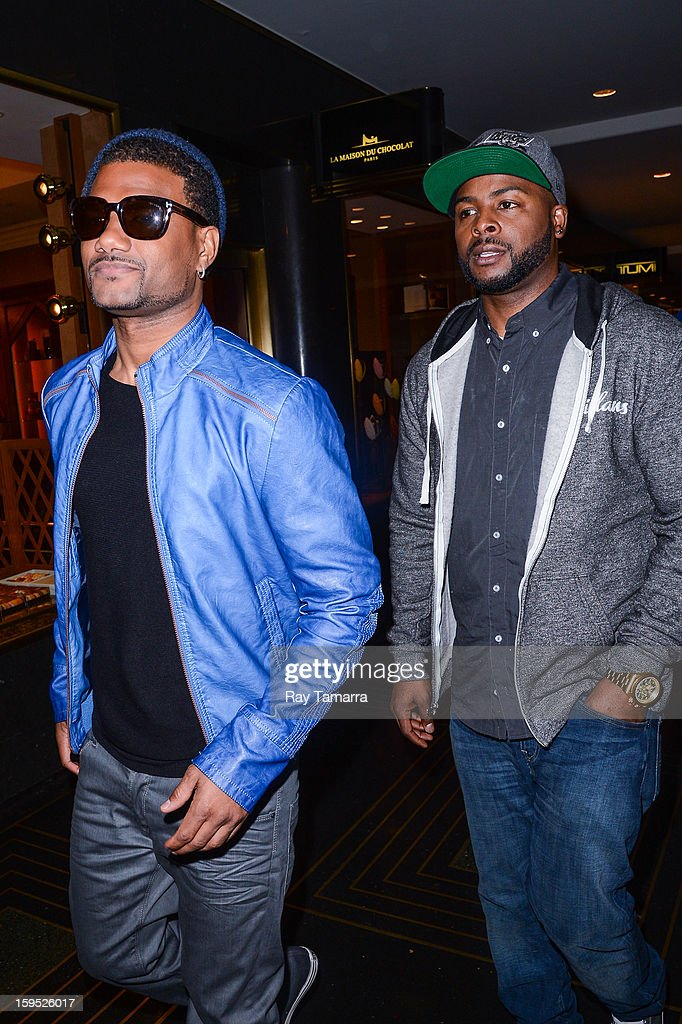 Actors Damien Dante Wayans (L) and Craig Wayans leave the 'New York Live' taping at the NBC Rockefeller Center Studios on January 14, 2013 in New York City.