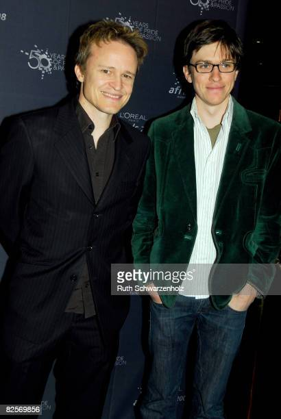 Actors Damon Herriman and Abe Forsythe arrive to attend the L'Oreal Paris 2008 AFI Awards Screenings launch at Cinema Paris at the Entertainment...