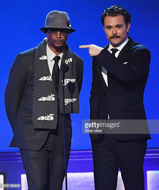 Actors Damon Wayans and Clayne Crawford speak onstage during the 22nd Annual Critics' Choice Awards at Barker Hangar on December 11 2016 in Santa...