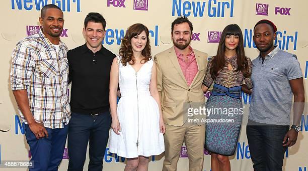 Actors Damon Wayans Jr., Max Greenfield, Zooey Deschanel, Jake Johnson, Hannah Simone, and Lamorne Morris attend the 'New Girl' Season 3 Finale...
