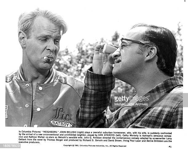Actors Dan Aykroyd and John Belushi on set of the Columbia Pictures movie 'Neighbors' in 1981