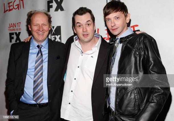 Actors Dan Bakkedahl Jim Jefferies and DJ Qualls attend the screening of FX's new comedy series 'Legit' on January 14 2013 in Los Angeles California