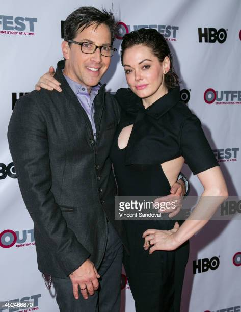 Actors Dan Bucatinsky and Rose McGowan attend the 2014 Outfest Los Angeles Closing Night Gala of 'Space Station 76' at Ford Theatre on July 20 2014...