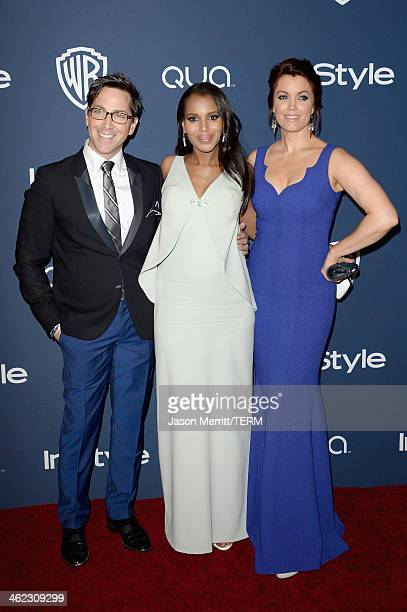 Actors Dan Bucatinsky Kerry Washington and Bellamy Young attend the 2014 InStyle and Warner Bros 71st Annual Golden Globe Awards PostParty on January...