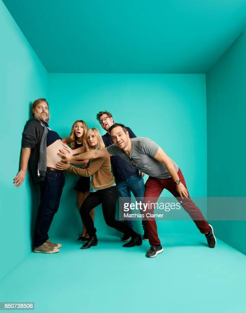 Actors Dan Harmon Sarah Chalke Spencer Grammer Justin Roiland and writer/producer Ryan Ridley from Rick and Morty are photographed for Entertainment...