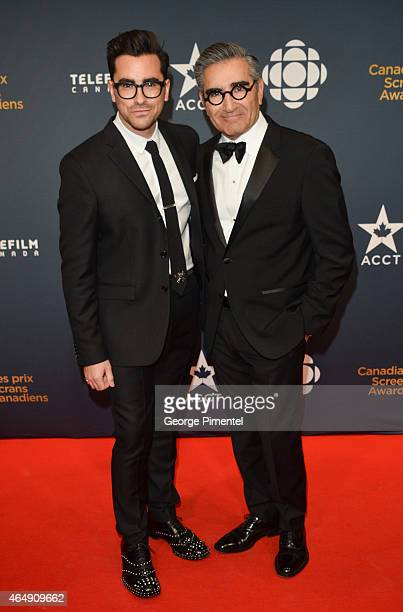 Actors Dan Levy and Eugene Levy arrive at the 2015 Canadian Screen Awards at the Four Seasons Centre for the Performing Arts on March 1 2015 in...