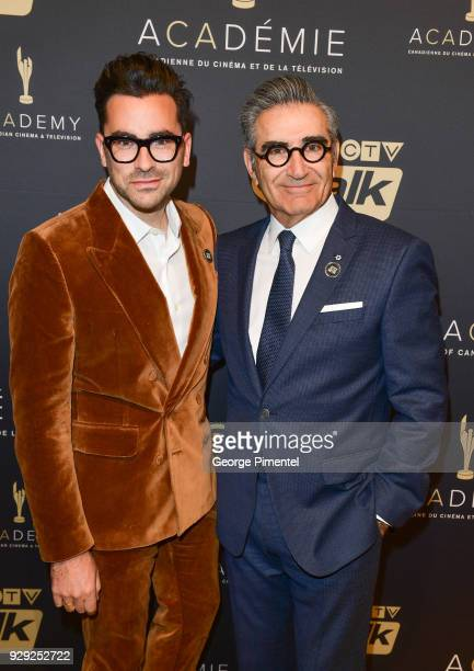 Actors Dan Levy and Eugene Levy attend the Gala Honouring Excellence in Creative Fiction Storytelling held at Westin Harbour Castle Hotel on March 7...