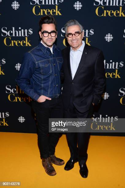 Actors Dan Levy and Eugene Levy attend the 'Schitt's Creek' Season 4 premiere at TIFF Bell Lightbox on January 9 2018 in Toronto Canada
