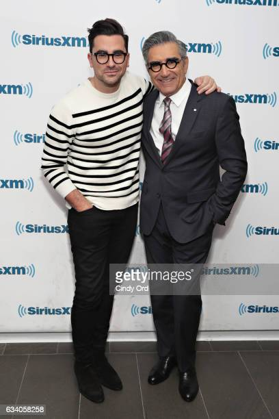 Actors Dan Levy and Eugene Levy visit the SiriusXM Studios on February 6 2017 in New York City