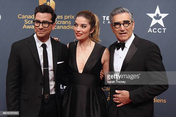 Actors Dan Levy Annie Murphy and Eugene Levy arrive at the 2015 Canadian Screen Awards at the Four Seasons Centre for the Performing Arts on March 1...