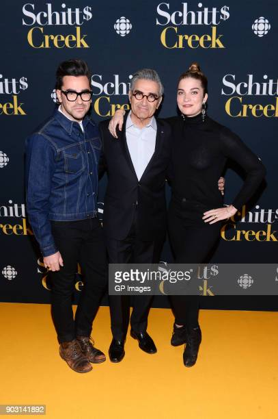 Actors Dan Levy Eugene Levy and Annie Murphy attend the 'Schitt's Creek' Season 4 premiere at TIFF Bell Lightbox on January 9 2018 in Toronto Canada