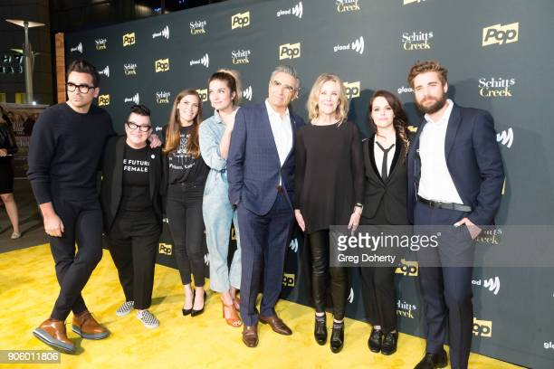 Actors Dan Levy Lea Delaria Sarah Levy Annie Murpy Eugene Levy Catherine O'Hara Emily Hampshire and Dustin Milligan attend the Premiere Of Pop TV's...