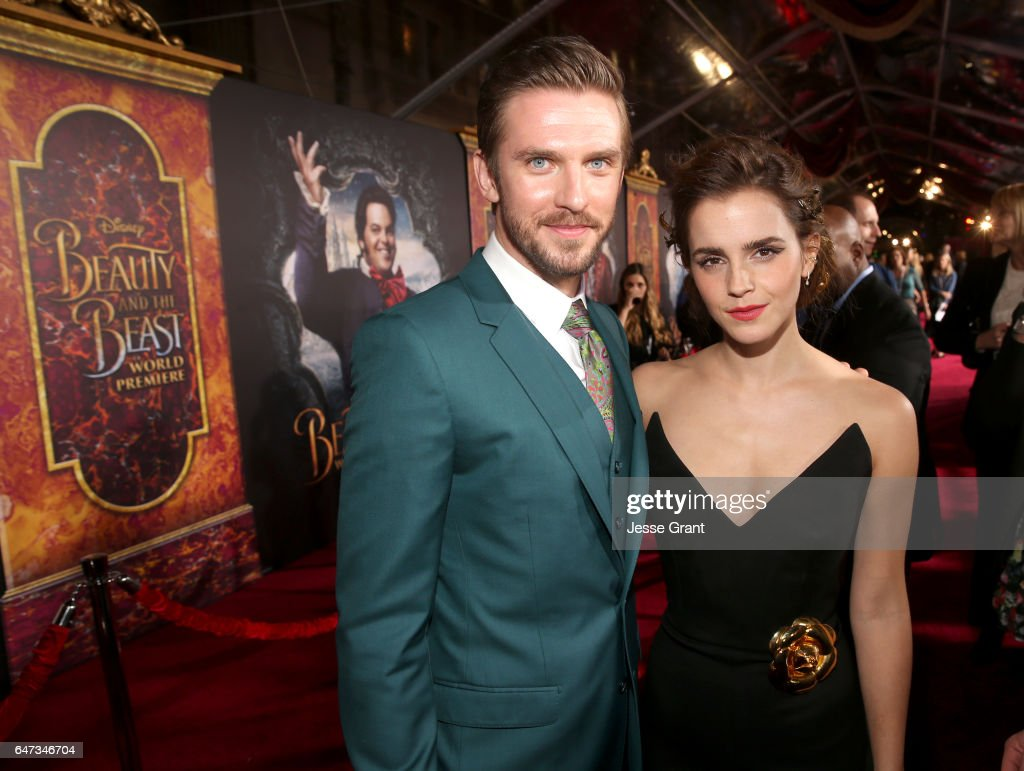 Actors Dan Stevens and Emma Watson arrive for the world premiere of Disney's live-action 'Beauty and the Beast' at the El Capitan Theatre in Hollywood as the cast and filmmakers continue their worldwide publicity tour on March 2, 2017 in Los Angeles, California.