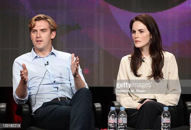 Actors Dan Stevens and Michelle Dockery speak during the 'Masterpiece Downton Abbey II' panel during the PBS portion of the 2011 Summer TCA Tour held...