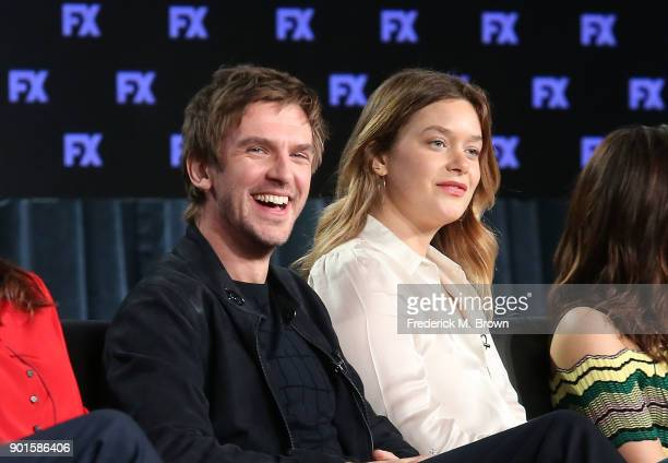 Actors Dan Stevens and Rachel Keller speak onstage during the FOX/FX portion of the 2018 Winter Television Critics Association Press Tour at The...