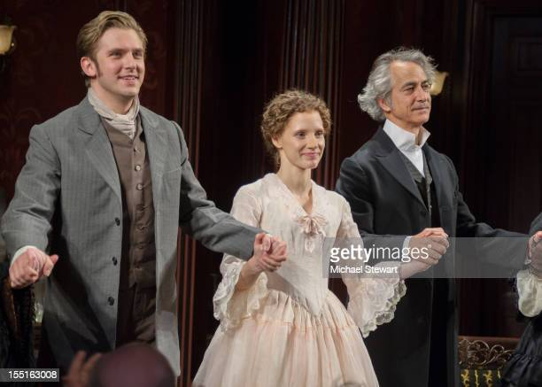 Actors Dan Stevens Jessica Chastain and David Straithairn attend the Broadway revival opening night of The Heiress at the Walter Kerr Theatre on...