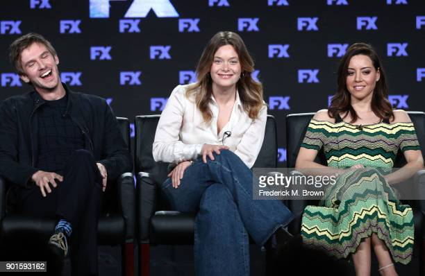 Actors Dan Stevens Rachel Keller and Aubrey Plaza of the television show LEGION speak onstage during the FOX/FX portion of the 2018 Winter Television...